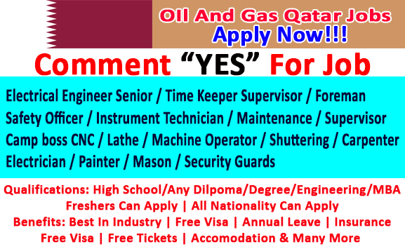 Oil and Gas Jobs Opening In Qatar Apply Now!!!