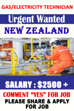 Gas/electricity Technician Hiring in New Zealand